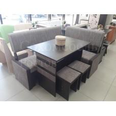Кухонный угол Тип 3 luxe с прямыми сидениями материал ткань и раздельной полуоткрытой спинкой