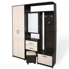 Прихожая Perfect 5 с вместительными тумбами, шкафом, со скрытым пуфиком и зеркалом