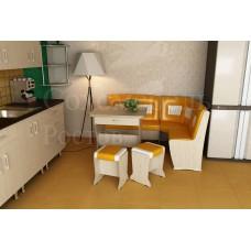 Кухонный уголок Perfect 3 portative широкая спинка с квадратными цветнами вставками и раскладным столом