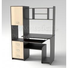 Стол компьютерный Simple 5 с вертикальным вместительным пеналом с надстройкой и открытой полкой под системный блок