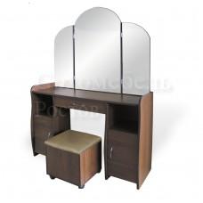 Трюмо Tower 2 с двумя зеркальными створками, двумя тумбами с ящиками для мелочей + 1 пуфик
