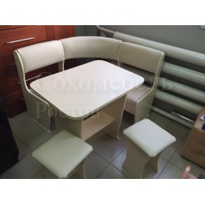 Кухонный уголок Consul mini lite с прямой полуоткрытой одноцветной спинкой укороченный симметричный